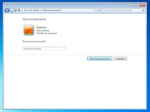 Screenshot che mostra come rimuovere la password da un account utente su Windows 7