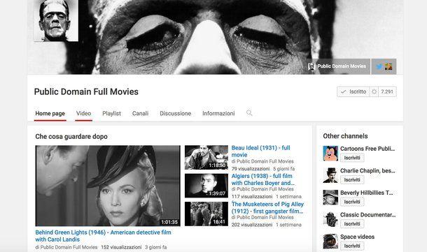 YouTube, film gratis da vedere