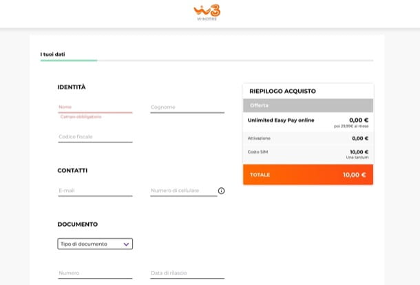 Attivare offerta WINDTRE online