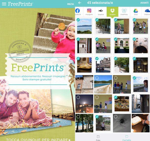 Freeprints schermata iniziale