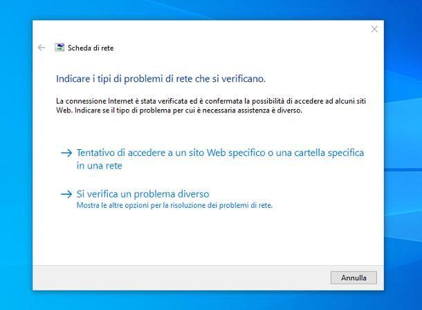 Windows analizzerà lo stato della rete e ti aiuterà a identificare i problemi che ti impediscono di accedere a Internet