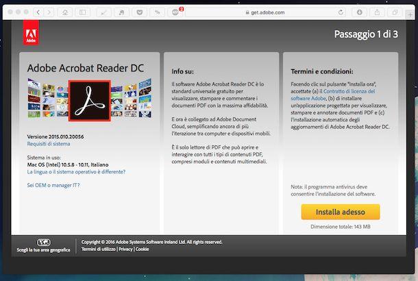 Screenshot di Adobe Acrobat Reader