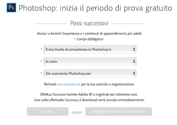 Screenshot di Adobe Photoshop