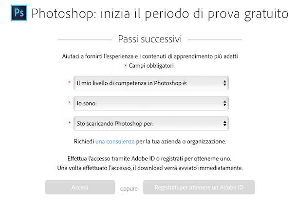 Screenshot di Adobe Photoshop