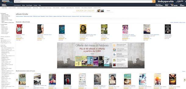 Screenshot del Kindle Store di Amazon