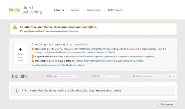 Screenshot che mostra come pubblicare su Amazon