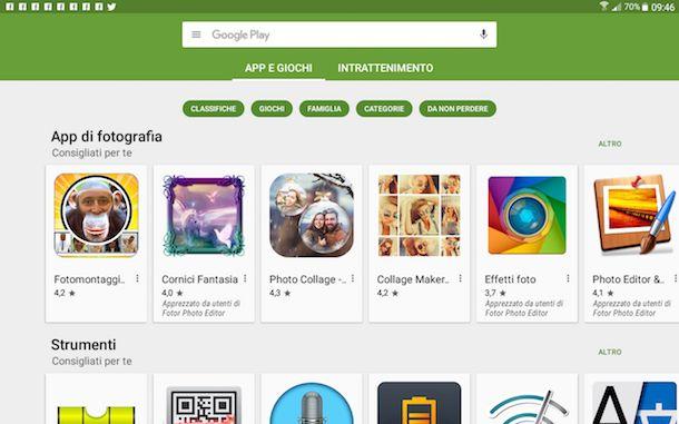 Screenshot di Google Play Store