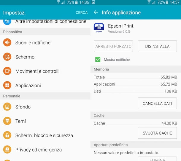 Screenshot di Android