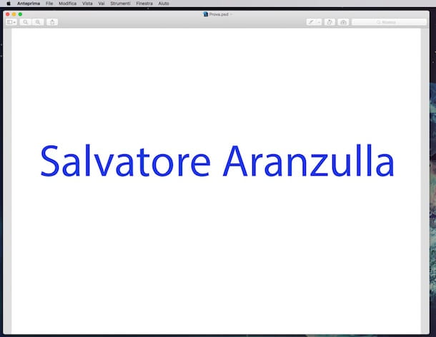 Screenshot di Anteprima su Mac