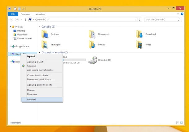 Screenshot che mostra come attivare Windows 8