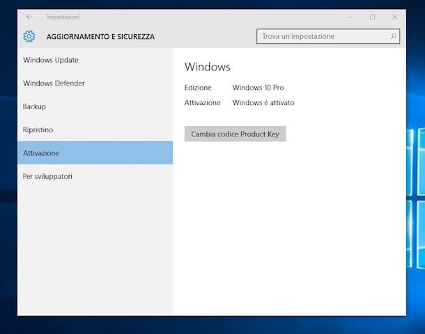 Screenshot che mostra come attivare Windows 10