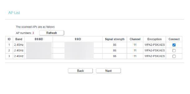 Modalità Range Extender (connessione Wi-Fi)