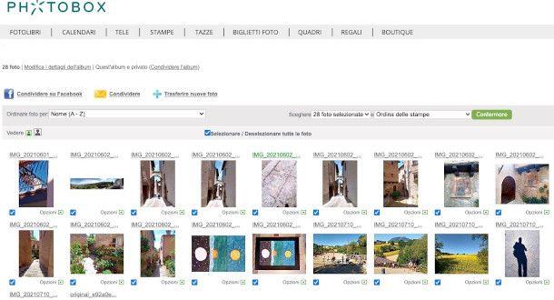 selezione foto photobox