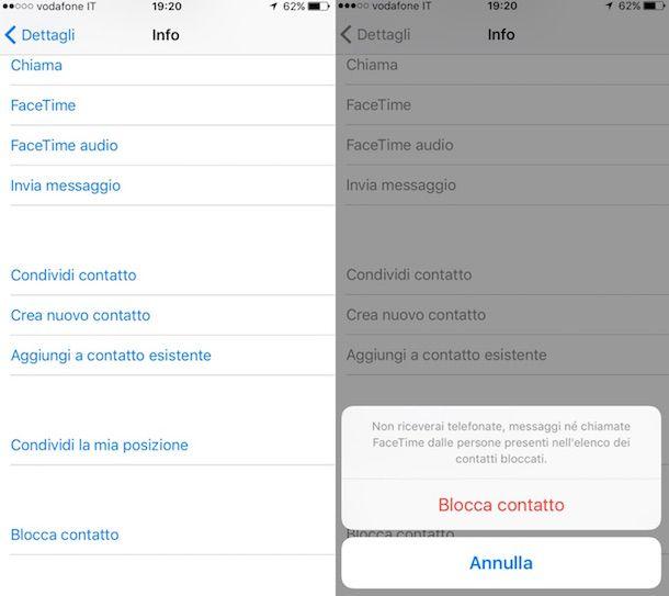 Screenshot che mostra come bloccare SMS su iPhone