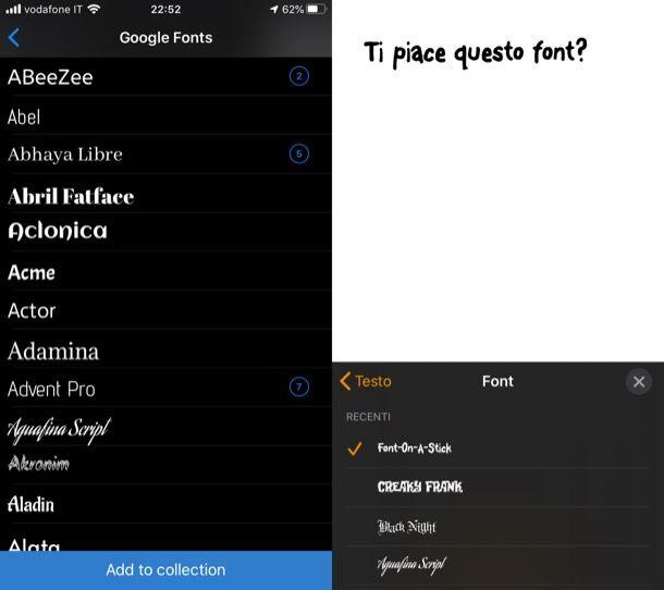 Altre app per font