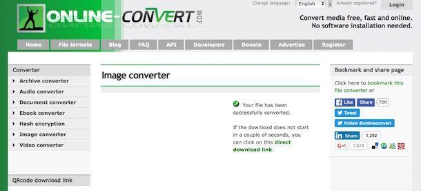 Screenshot servizio online per cambiare formato foto