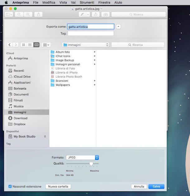 Screenshot Anteprima per cambiare formato foto