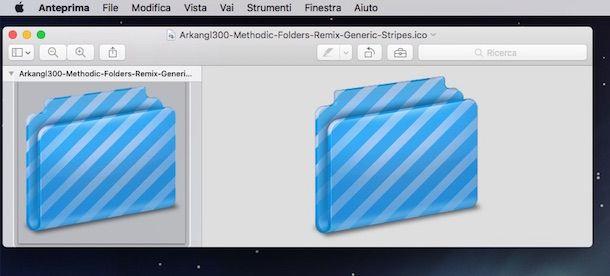 Screenshot che mostra cm cambiare icone Mac