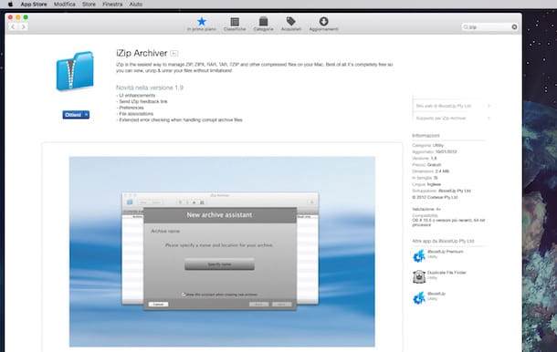 Screenshot di iZip Archiver su Mac