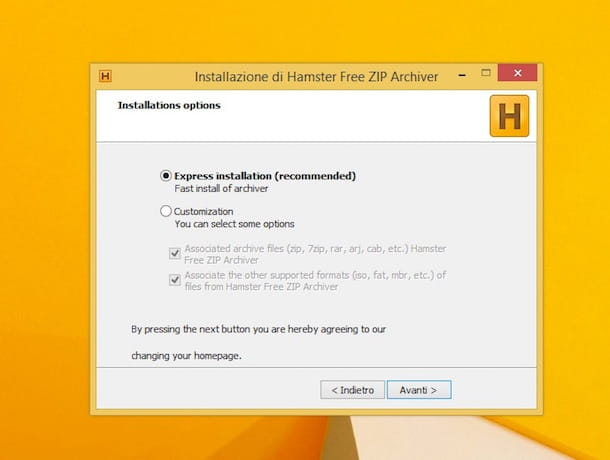 Screenshot di Hamster Free Zip Archiver su Windows