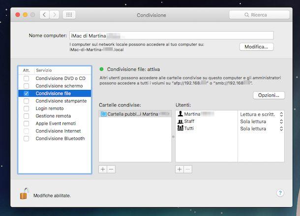 Screenshot che mostra la funzione Condivisione file su OS X