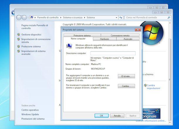 Screenshot che mostra come creare cartella condivisa su Windows