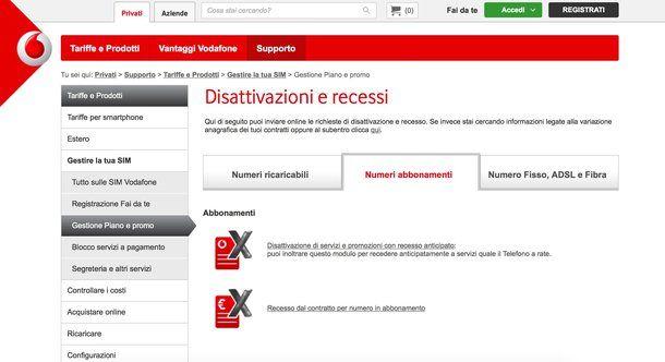 Come disdire contratto Vodafone