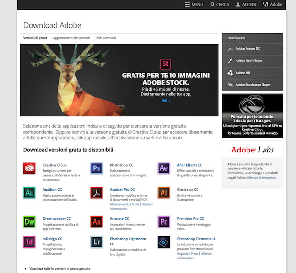 Screenshot del sito Internet di Adobe