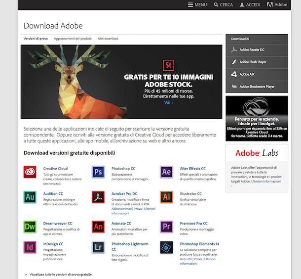 Screenshot del sito Internet di Adobe