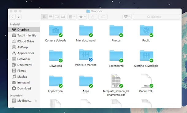 Screenshot di Dropbox su Mac