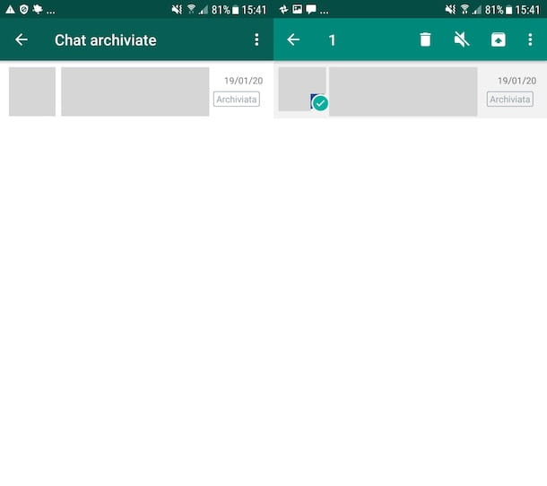 Chat archiviate WhatsApp Android