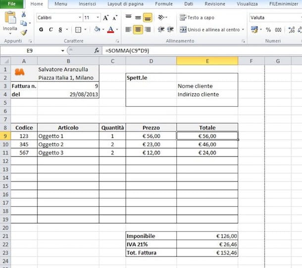 Screenshot di Microsoft Excel