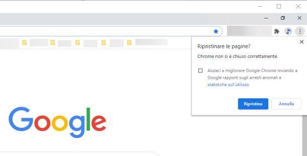 Come ripristinare pagine Chrome chiuse