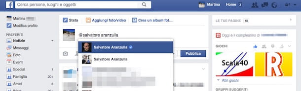 Screenshot che mostra come si tagga su Facebook