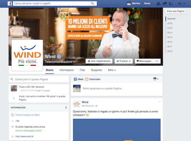 Screenshot pagina Facebook Wind