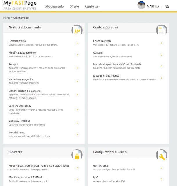Screenshot della MyFastPage di Fastweb