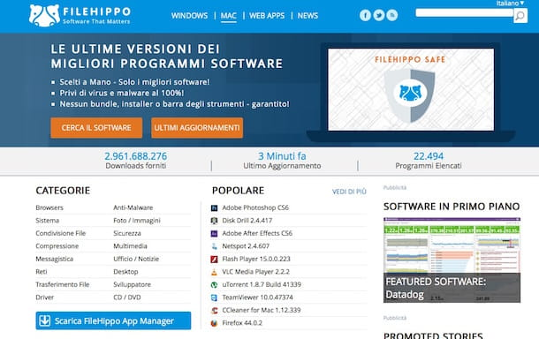 Screenshot di FileHippo