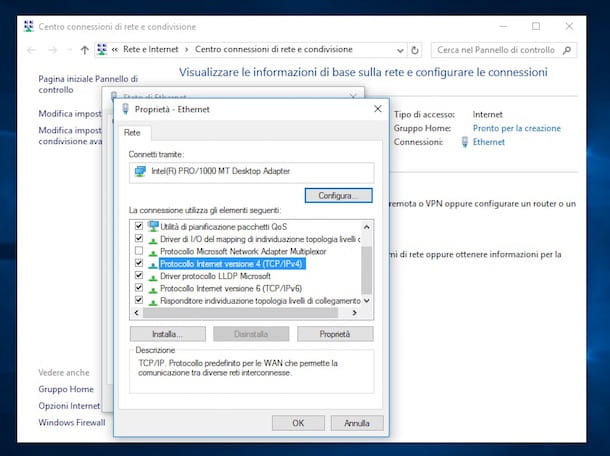Screenshot che mostra come impostare DNS su Windows