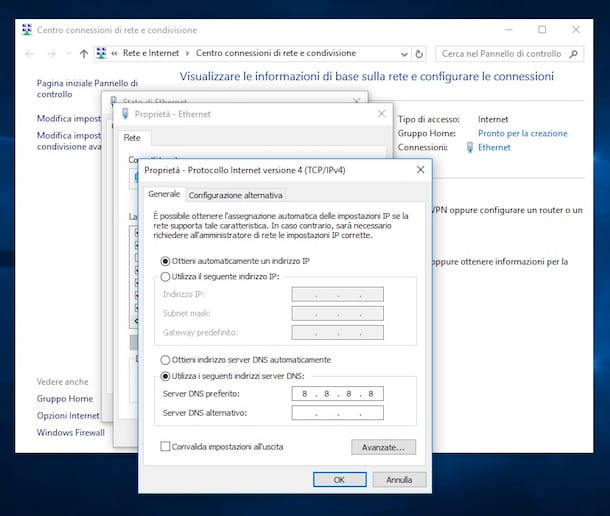 Screenshot che mostra come impostare DNS su Windows