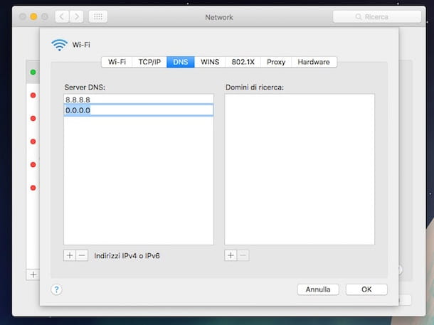 Screenshot che mostra come impostare DNS su Mac