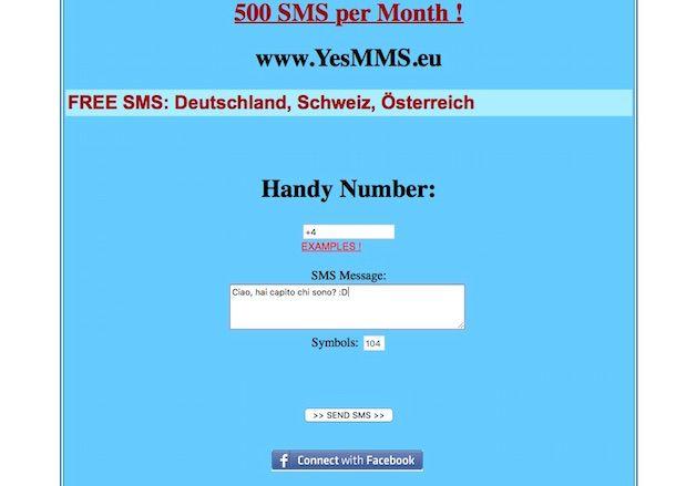 Screenshot del servizio YesSMS