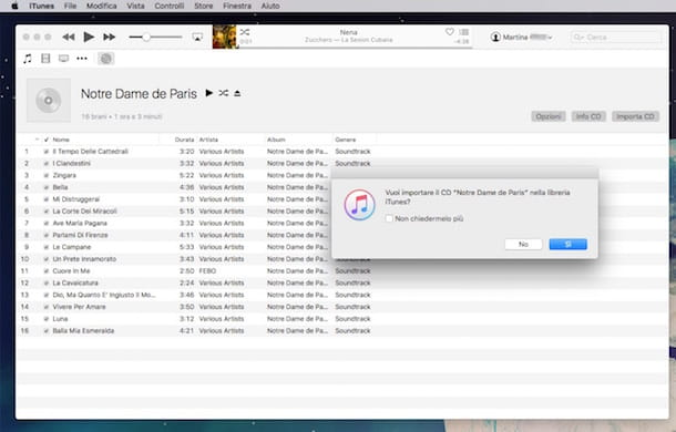 Screenshot di iTunes su Mac