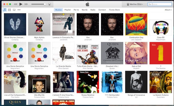 Screenshot di iTunes collegato ad iPod