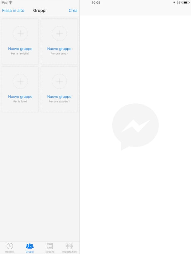 Screenshot di Messenger su iPad