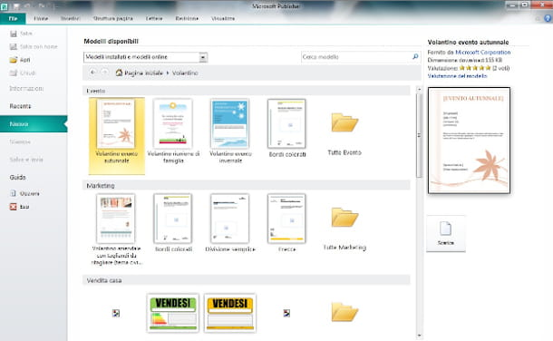 Screenshot di Microsoft Office Publisher