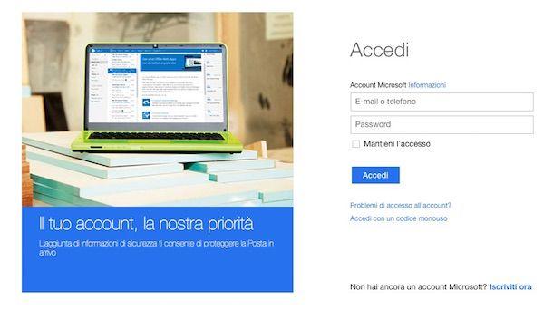 Screenshot della schermata per effettuare l'accesso all'account Microsoft