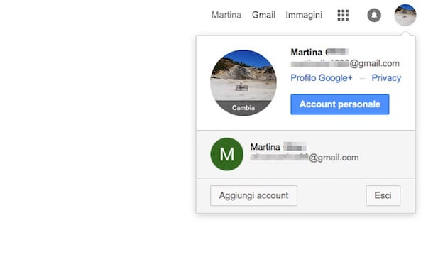 Screenshot che mostra come cambiare nome account Google