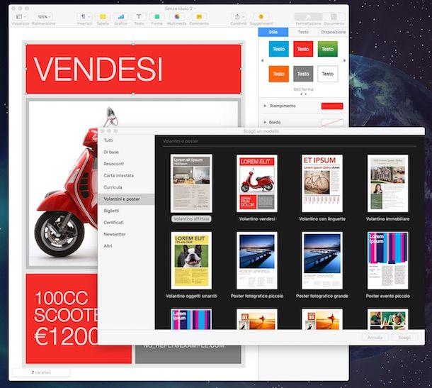 Screenshot di Pages