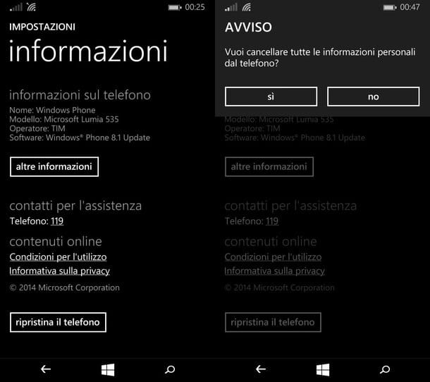 Come resettare Windows Phone