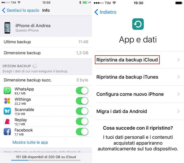 Come ripristinare backup iPhone